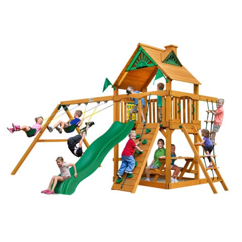 Gorilla Playsets Chateau Wooden Swing Set with Wave Slide, Rock Wall, and Sandbox Area