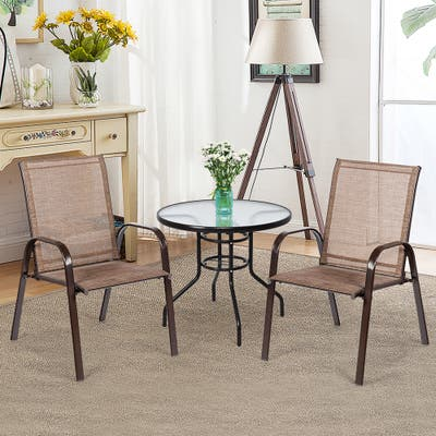 Set of 2 Patio Chairs Outdoor Camping Garden Chairs