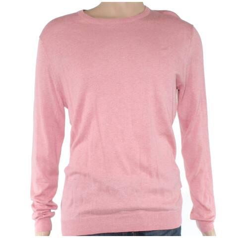 Tasso Elba Mens Sweater Blush Pullover Ribbed Crewneck