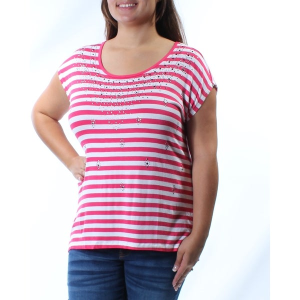 eb07e0e8 Shop Womens Pink White Striped Cap Sleeve Jewel Neck Casual Hi-Lo Top Size  XL - Free Shipping On Orders Over $45 - Overstock - 21303146