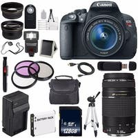 Canon EOS Rebel T5i 18 MP CMOS DSLR Camera w/EF-S 18-55mm (International Model) + Canon EF 75-300mm Lens Bundle