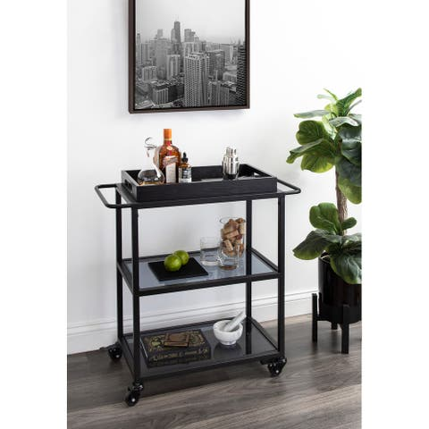 Kate and Laurel Giles Metal Bar Cart with Tray - 28x13x30