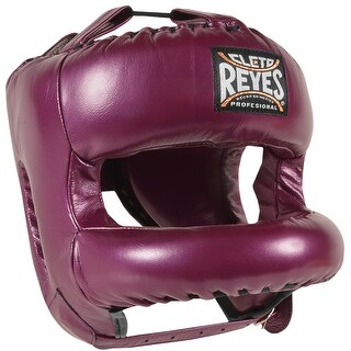 Cleto Reyes Redesigned Leather Boxing Headgear with Nylon Face Bar - Purple