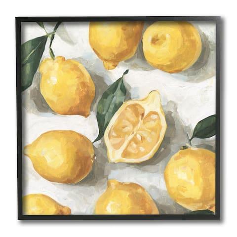 Stupell Industries Soft Yellow Citrus Lemon Pile Over White Framed Wall Art, 12 x 12