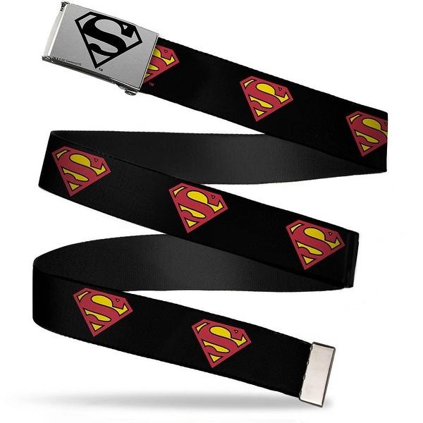 Superman Brushed Silver Black Cam Superman Shield Black Webbing Web Belt