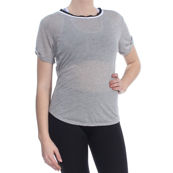 52f06fd9f0fb Shop FREE PEOPLE Womens Gray Cut Out Short Sleeve Jewel Neck Active Wear  Top Size: S - On Sale - Free Shipping On Orders Over $45 - Overstock -  27796114