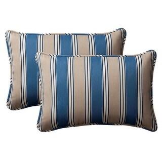 "Pack of 2 Outdoor Rectangular Throw Pillows 18.5"" - Blue & Tan Stripe"
