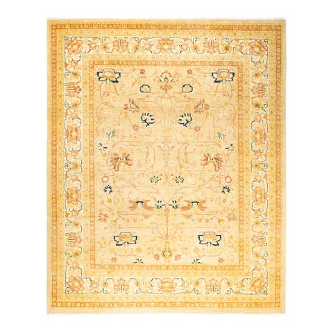 """Mogul, One-of-a-Kind Hand-Knotted Area Rug - Yellow, 8' 3"""" x 10' 2"""" - 8'3"""" x 10'2"""""""