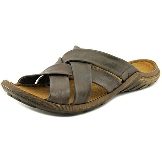 Josef Seibel Logan 10 Men Open Toe Leather Brown Slides Sandal
