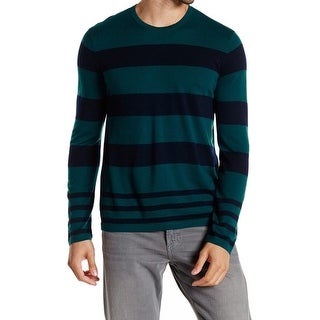 Vince. NEW Green Navy Mens Size Large L Striped Crewneck Wool Sweater