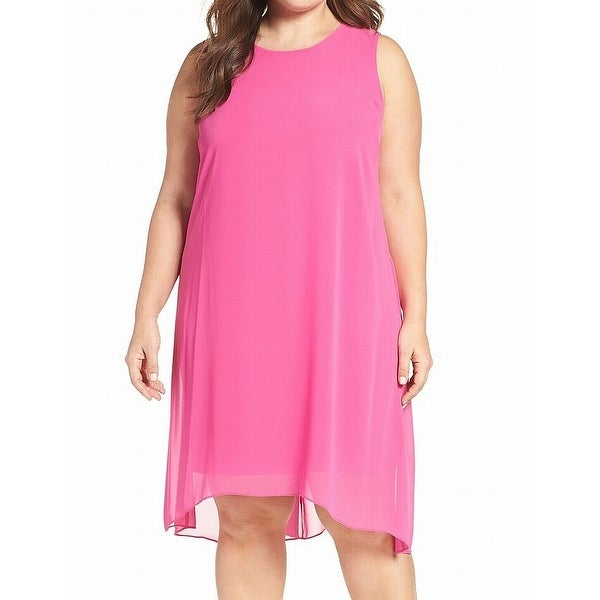 Vince Camuto Sleeveless Chiffon Overlay Shift Dress In Pink Size 2X