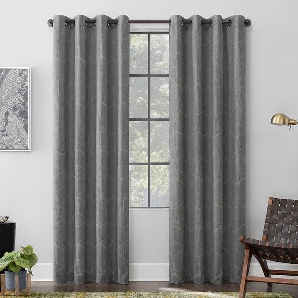 Scott Living Elkay Woven Geometric Pattern Total Blackout Grommet Curtain Panel Overstock 31283697