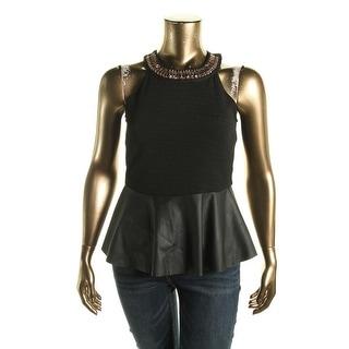 Stoosh Womens Juniors Embellished Halter Peplum Top