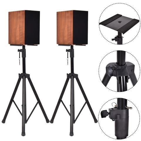 Costway 2 in 1 Speaker Stands Heavy Duty Adjustable Studio Monitor Pair Tripod Band DJ - Black