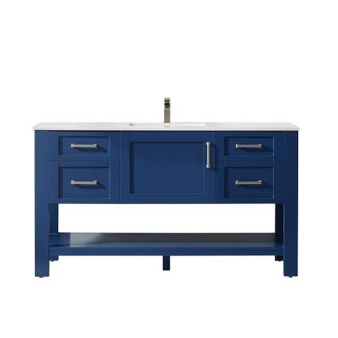 """Grayson 60"""" Single Vanity in Jewelry Blue and Composite Carrara White Stone Countertop Without Mirror"""