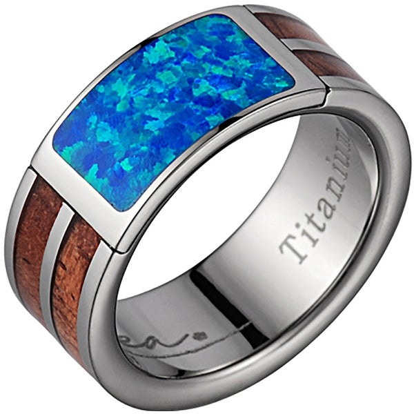 Titanium Wedding Band With Koa Wood & Opal Inlay 8mm