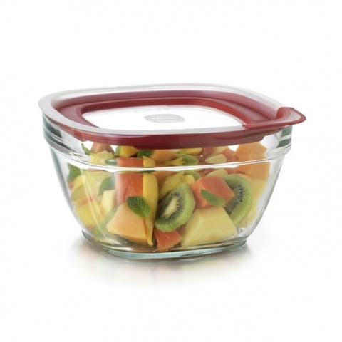 Rubbermaid 2856007 Glass Food Storage with Easy Find Lids, 11.5 Cup, Square