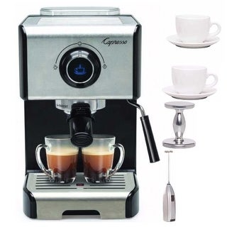 Capresso EC300 Stainless Steel 1200-Watt Espresso Machine + Milk Frother & More