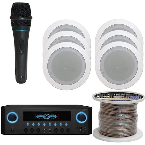 """Technical Pro 1000W Bluetooth Home System w/USB/SD Inputs, (Qty 6) 5.25"""" In-Wall Stereo Speakers, Microphone, 250ft speaker Wire"""