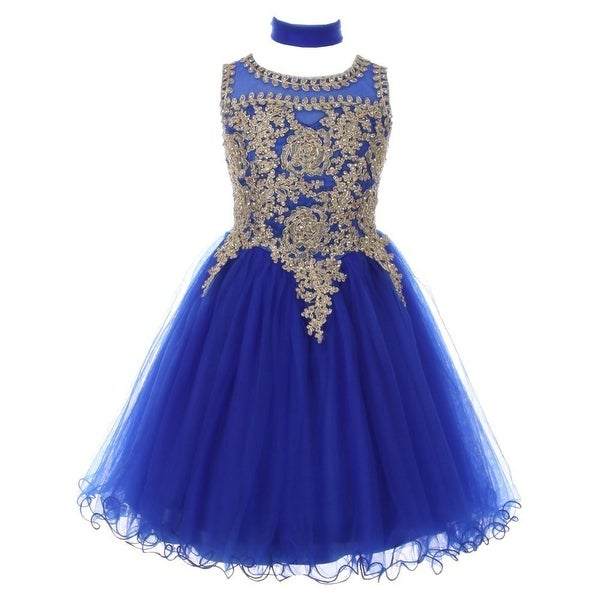Shop Girls Royal Blue Gold Trim Wire Tulle Junior