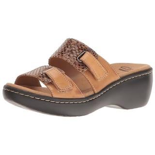 843db8c66e0 Clarks Womens Delana Fenela Leather Open Toe Casual Slide Sandals