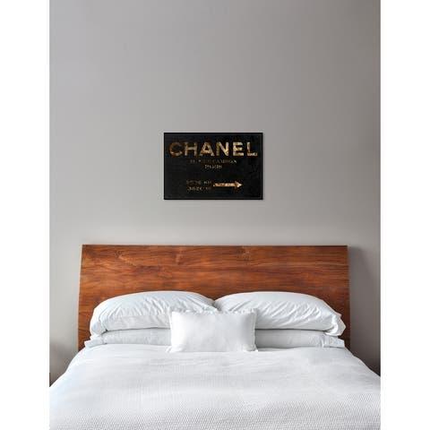 Oliver Gal 'Road Sign' Fashion Framed Art Print on Premium Canvas