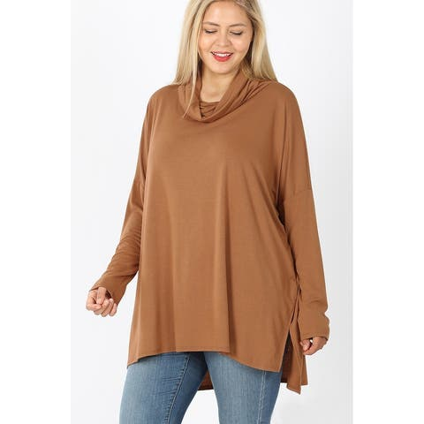 JED Women's Plus Size Cowl Neck Soft Knit Long Sleeve Tunic Top