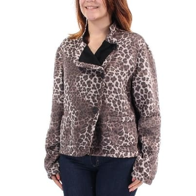 ARMANI Womens Brown Animal Print Collared Motorcycle Jacket Size 6