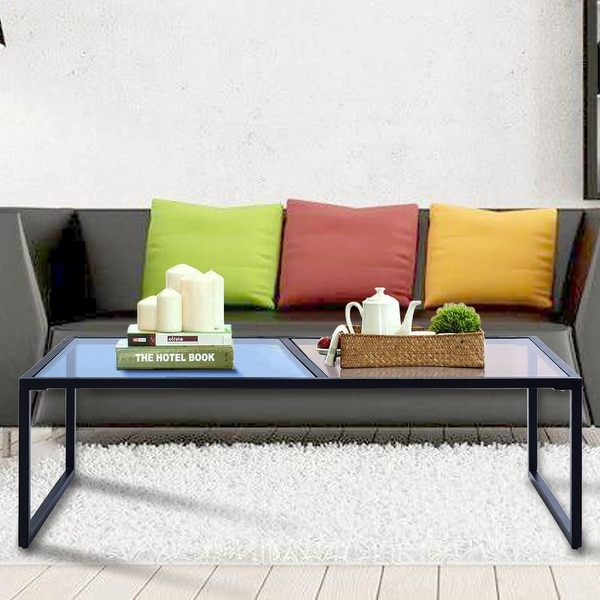 Shop Gymax Tempered Glass Coffee Table With Metal Frame