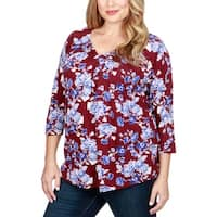Lucky Brand Womens Plus Peasant Top Floral Print Shirred