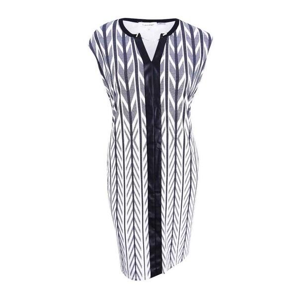13c73080b41 Shop Calvin Klein Women s Plus Faux-Leather-Trim Sheath Dress (22W ...