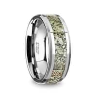 TARGARYEN Men's Tungsten Wedding Band with Light Green Dinosaur Bone Inlay & Beveled Edges
