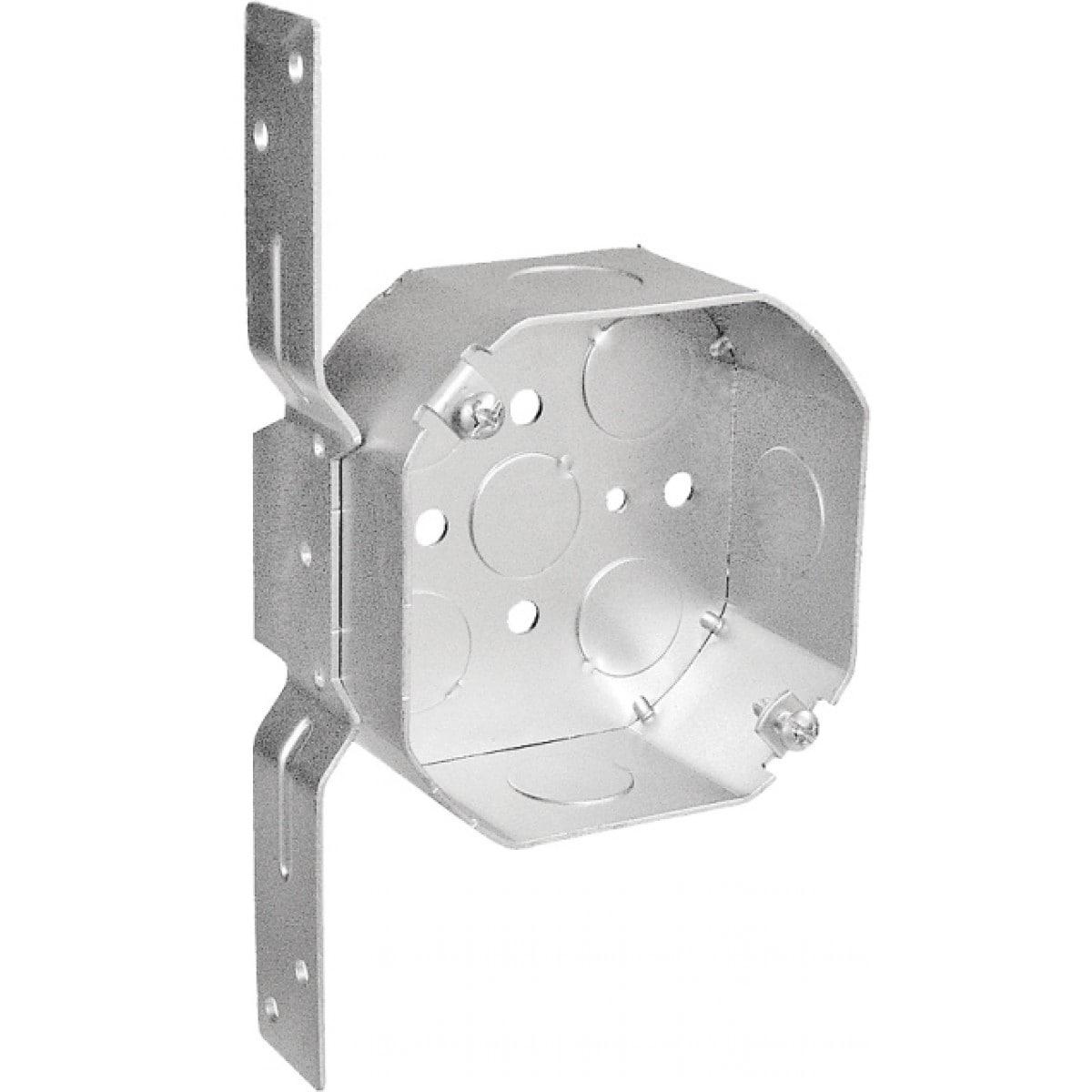 10 Pcs, 4 in. Octagon Box, 1-1/2 in. Deep, Flat Vertical Bracket, .0625 Galvanized Steel