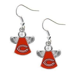 Chicago Bears NFL Crystal Angel Wings Dangle Logo Earring Charm Gift Set