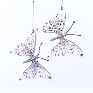 Set of 6 Lavender and Pink Glittering Snowflake Design Butterfly Ornaments 6""