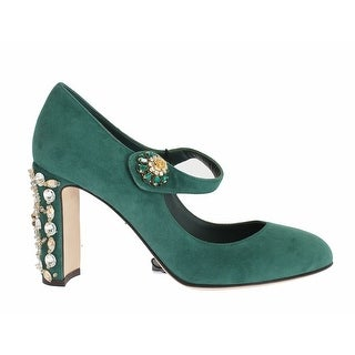 Dolce & Gabbana Green Suede Crystal Mary Jane Pumps - 39