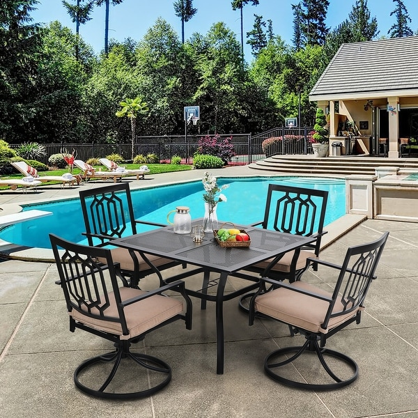 """PHI VILLA 5-Pcs Outdoor Dining Set: Steel Swivel Dining Chair with Cushion and 37"""" x 37"""" Square Patio Bistro Table. Opens flyout."""