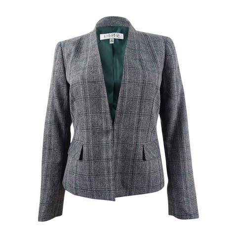 Kasper Women's Stand-Collar Plaid Jacket - Fir Green Multi