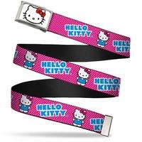Hello Kitty Face Fcg White Bo Chrome Hello Kitty Micro Dots Fuchsia Web Belt