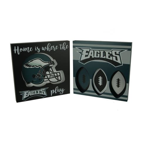 NFL Philadelphia Eagles Cut Out Helmet and Football Shapes Wall Hangings - Multicolored - 11.75 X 11.75 X 1.25 inches