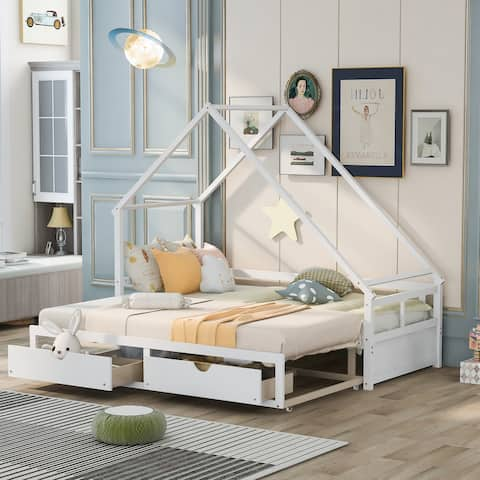 Nestfair Extending Daybed Wooden House Bed with Drawers