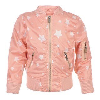 Urban Republic Little Girls Pink Star Print Weather-Resistant Flight Jacket