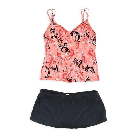 MagicSuit Womens French Twist Skirt 2 Piece Tankini, orange, 12