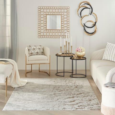 Inspire Me Home Decor Metallic Contemporary Abstract Area Rug