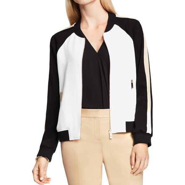 35a3bcc85 Shop Vince Camuto Womens Bomber Jacket Colorblock Collarless - Free ...