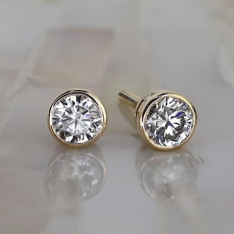 14k Gold 1CTW Round Lab Grown Diamond Stud Earrings Bezel Ethical Sparkle