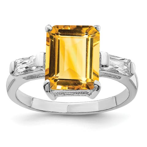 Sterling Silver Rhodium-plated Polished 2mm Citrine Ring by Versil