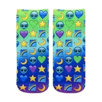 Living Royal Photo Print Ankle Socks: Galaxy Emoji - Multi