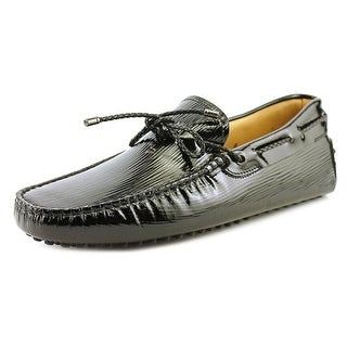 Tod's Laccetto My Colors New Gommini 122 Men Moc Toe Leather Black Loafer