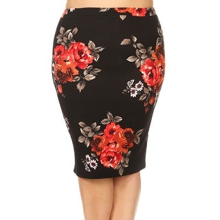 Women Plus Size Trendy Floral Pattern Pencil Skirt Black Red